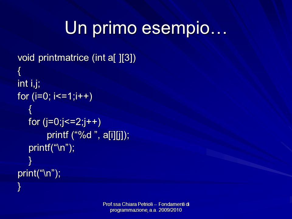 Un primo esempio… void printmatrice (int a[ ][3]) { int i,j;